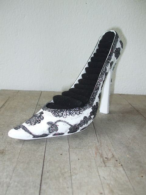 schmuckablage schuh high heels schmuckhalter ringhalter weiss ebay. Black Bedroom Furniture Sets. Home Design Ideas