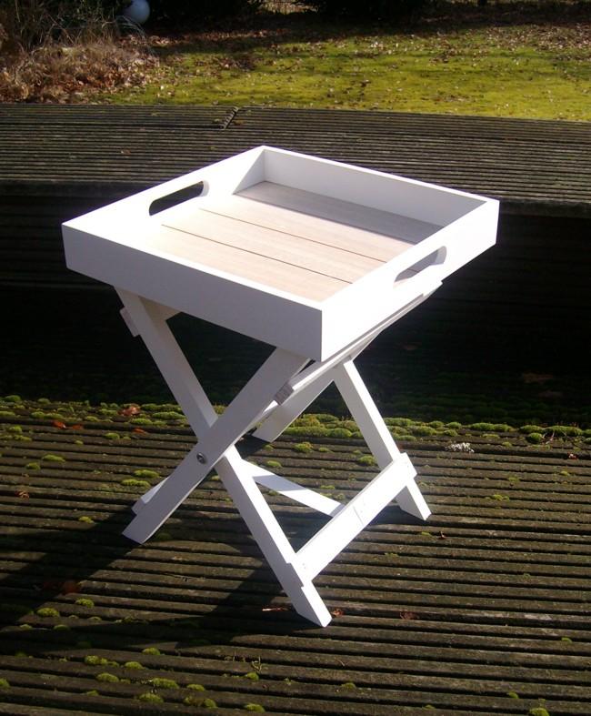 dekorativer tablett tisch beistelltisch ablagetisch holz weiss 36 cm landhaus ebay. Black Bedroom Furniture Sets. Home Design Ideas