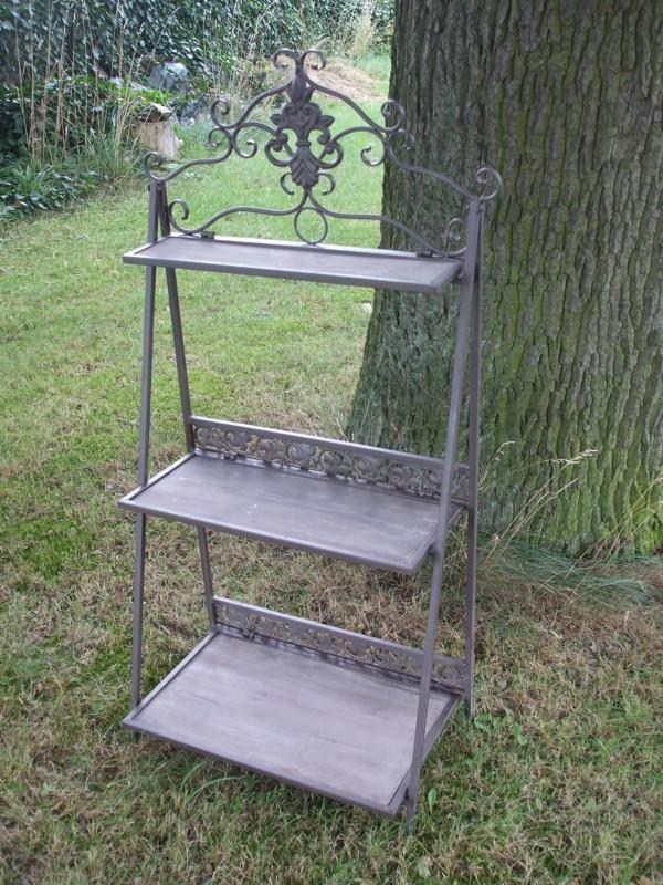 bezauberndes standregal 3 b den 120 cm massives eisen holzb den landhaus. Black Bedroom Furniture Sets. Home Design Ideas