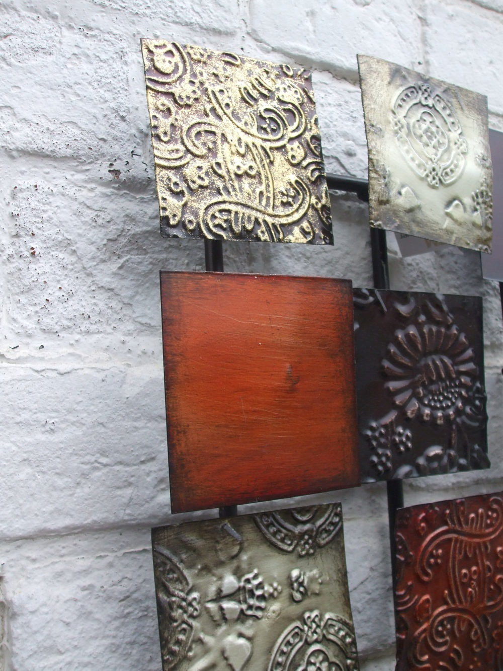 kunstobjekt wanddekoration dekoratives wandobjekt metall impressionen ebay. Black Bedroom Furniture Sets. Home Design Ideas