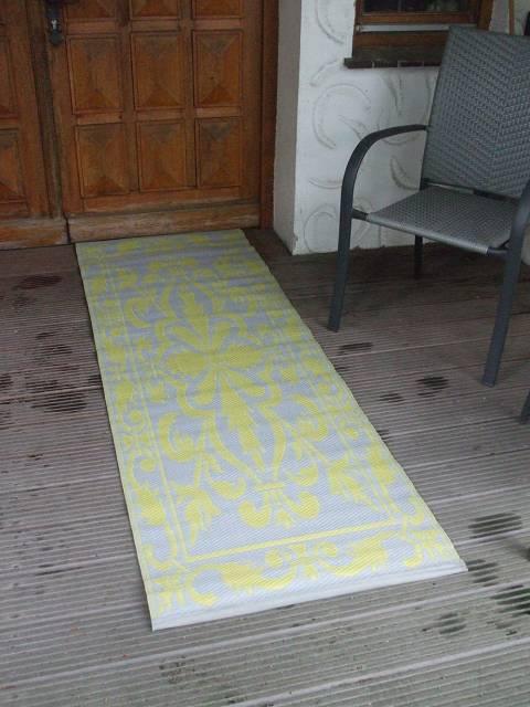 Wetterfester balkonteppich outdoor teppich 70 x 200 cm gr n grau landhaus ebay - Teppich landhaus ...