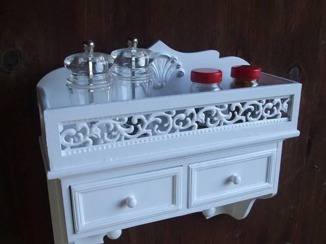 wandablage holz mdf k chenregal badregal landhausstil gew rzregal weiss ebay. Black Bedroom Furniture Sets. Home Design Ideas