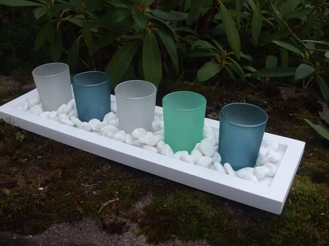 5 teelichtgl ser teelichthalter auf holzbrett weiss tischdeko geschenkbox ebay. Black Bedroom Furniture Sets. Home Design Ideas