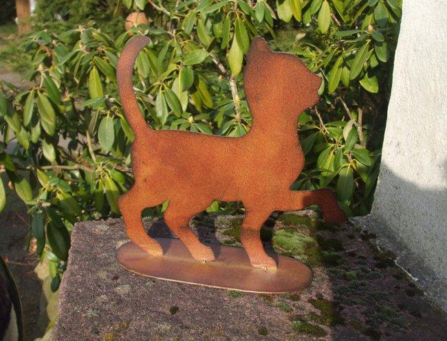 Katze gartendeko katzenfigur a fu eisen rost 34 cm for Gartendeko gusseisen rostig