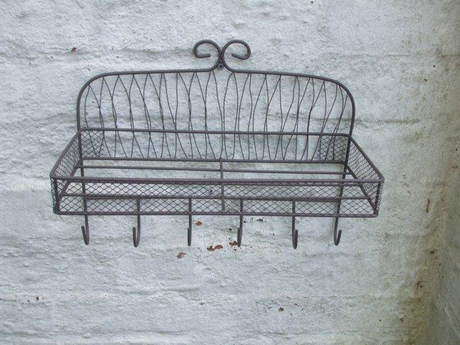 mediterranes wandregal wandablage eisen mit 6 haken. Black Bedroom Furniture Sets. Home Design Ideas