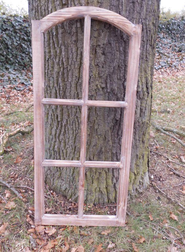 Großes Fenster Sprossenfenster Dekorahmen abgerundet Holz braun 112 cm