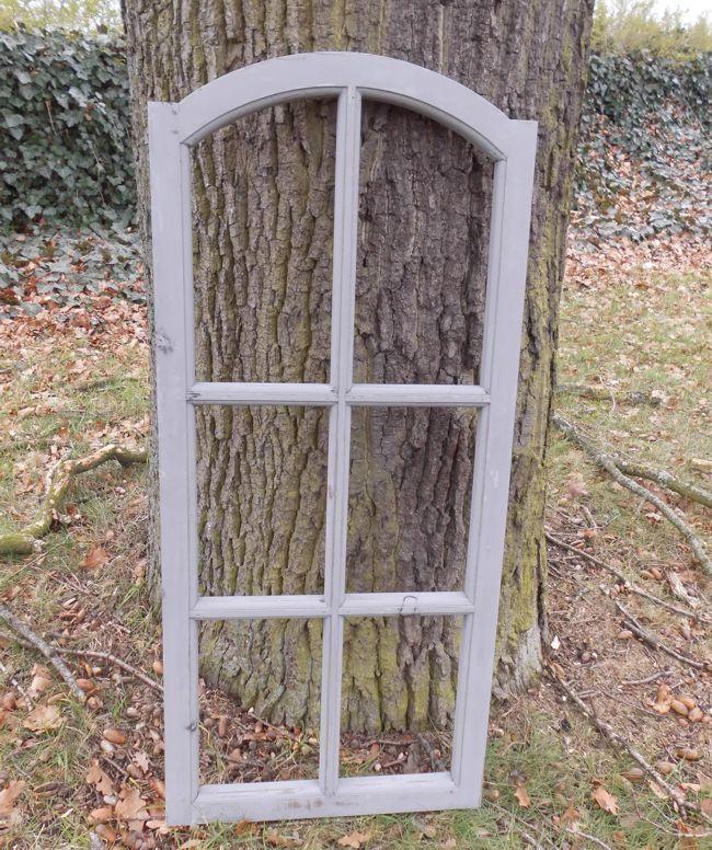 Großes Fenster Sprossenfenster Dekorahmen abgerundet Holz grau-shabby 112 cm