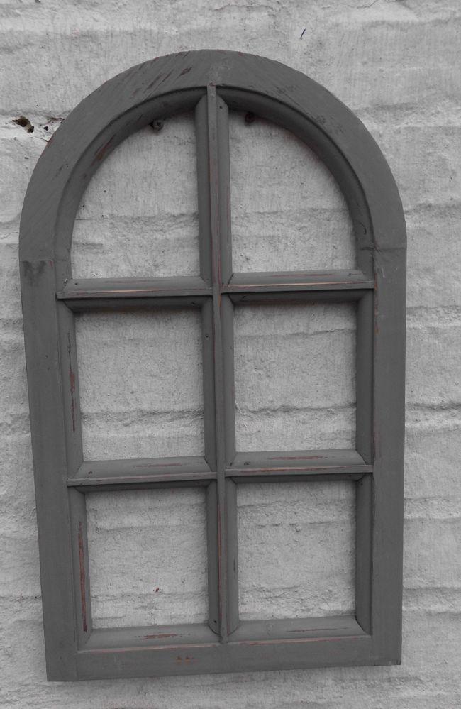 Kleineres Dekofenster Sprossenfenster Dekorahmen halbrund Holz grau-shabby 49 cm
