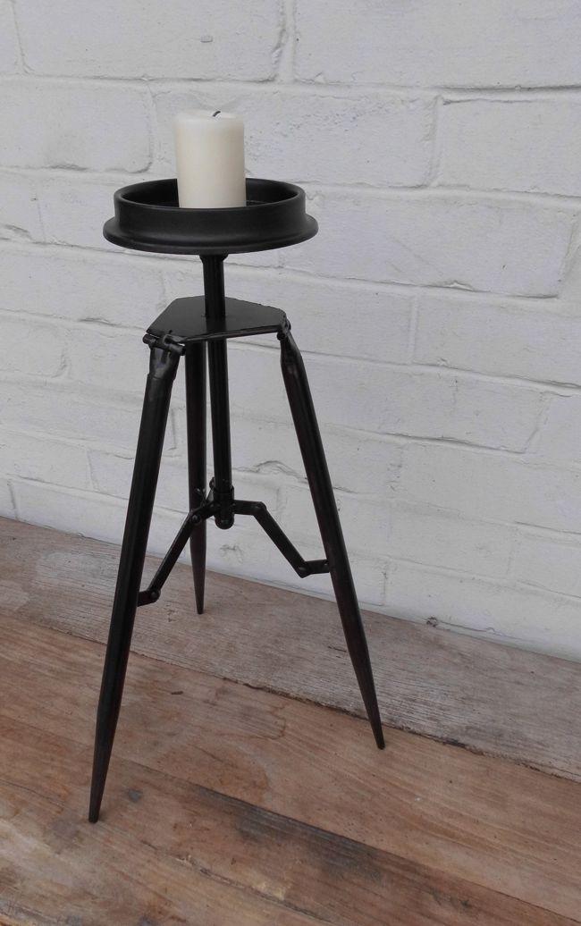 Traumschöner Kerzenhalter Kerzenständer Stativ Eisen schwarz 45 cm