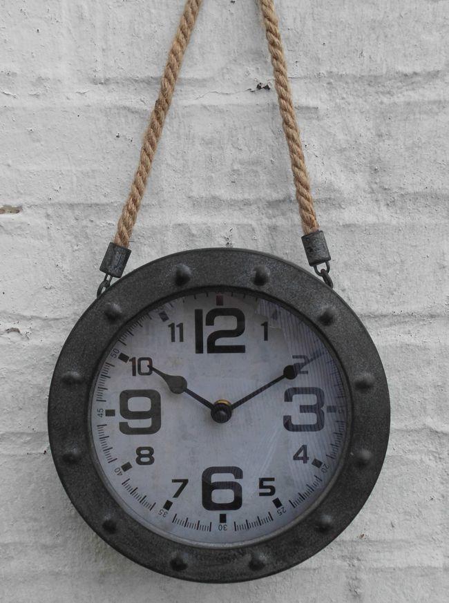 Wanduhr / Uhr an Leinenkordel Loftstyle Eisen Grau-Antik 20 cm