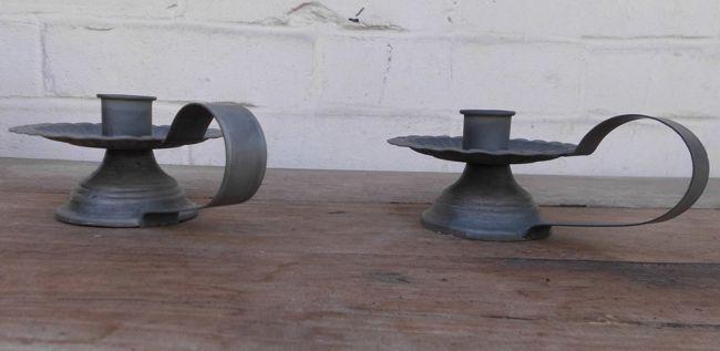 2er Set Kerzenhalter Kerzenständer Tropfblech mediterran nostalgisch Eisen grau