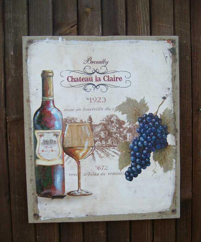 Traumhaftes Wandbild auf Leinwand, Chateau Vino Rotwein Frankreich