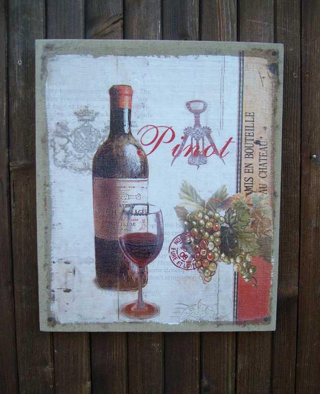 Traumhaftes Wandbild a. Leinwand Pinot Vino Rotwein Trauben Frankreich