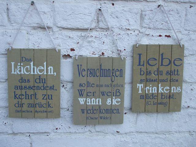 Holzschilder Selber Machen sprüche, weisheiten, zitate holzschilder wandbild, 3 stück