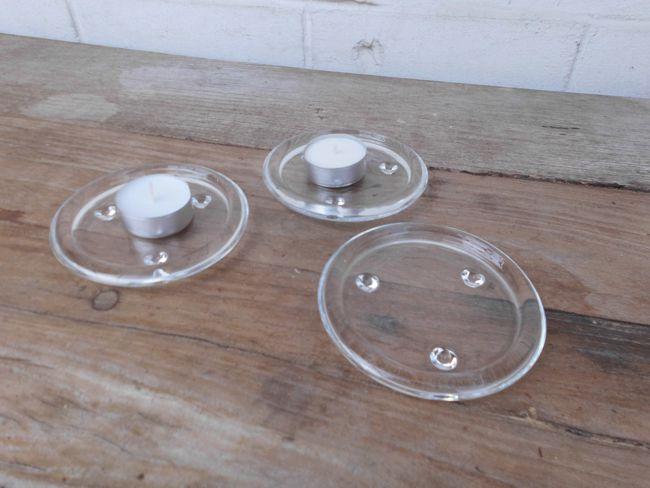 Kerzenteller im Set Kerzenhalter Kerzenständer 3 Stück Glas rund