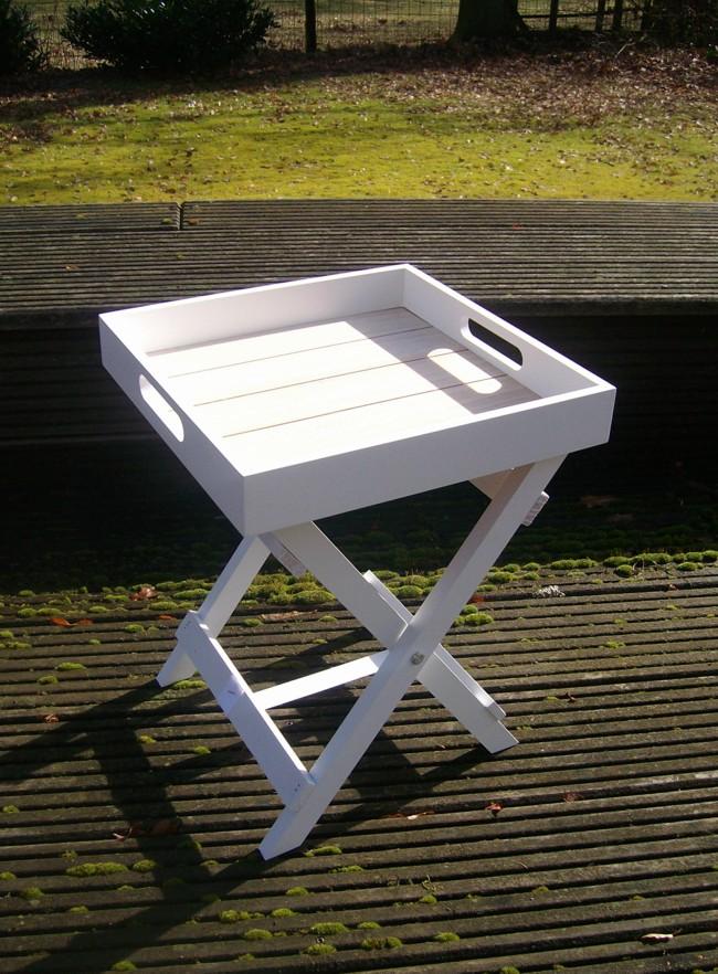 praktischer tablett tisch beistelltisch ablagetisch holz weiss 36 cm. Black Bedroom Furniture Sets. Home Design Ideas