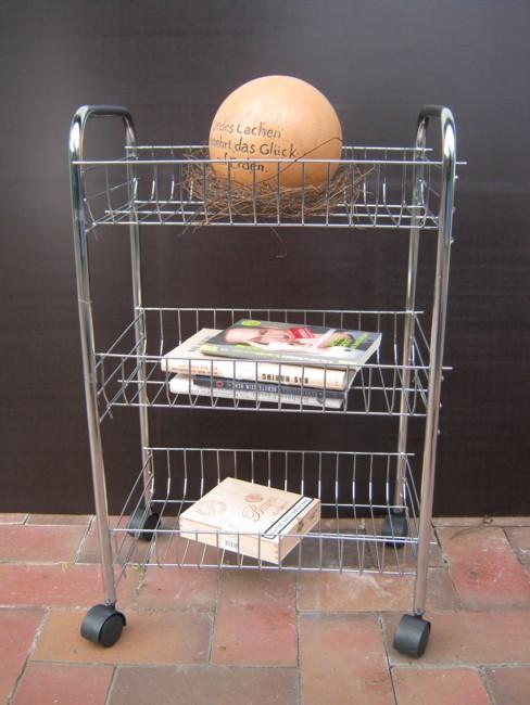 Praktischer Rollwagen verchromt mit drei Böden für Küche Bad Haushalt 63 cm hoch  eBay
