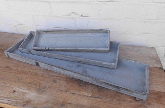 Dekoratives Tablett-Set 3 Stück Holz grau shabby 60 x 15 cm