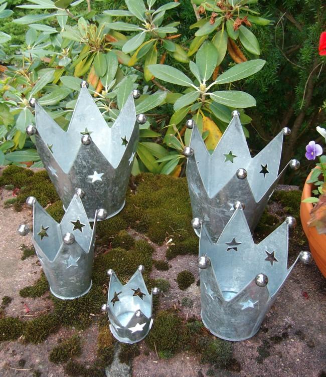Deko kronen 5er set windlicht gartendeko pflanztopf for Gartendeko gusseisen rostig