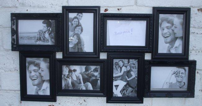 Wandbilderrahmen, Familienrahmen, Collage, 8 Felder, schwarz, Fotorahmen