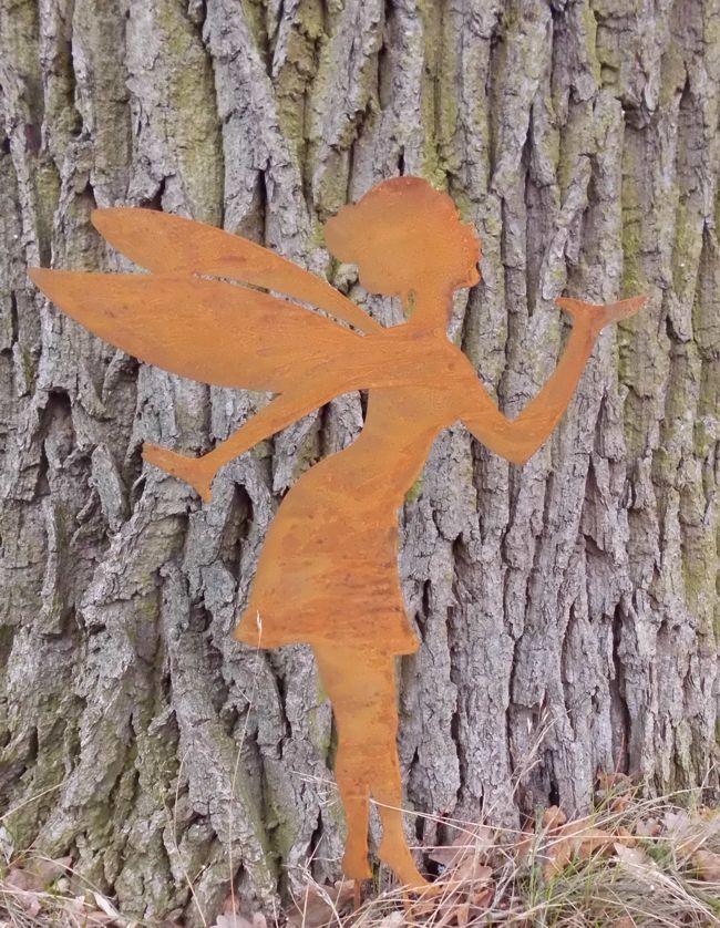 Zauberhafte fee elfe gartenstecker gartendeko eisen rostig for Gartendeko gusseisen rostig