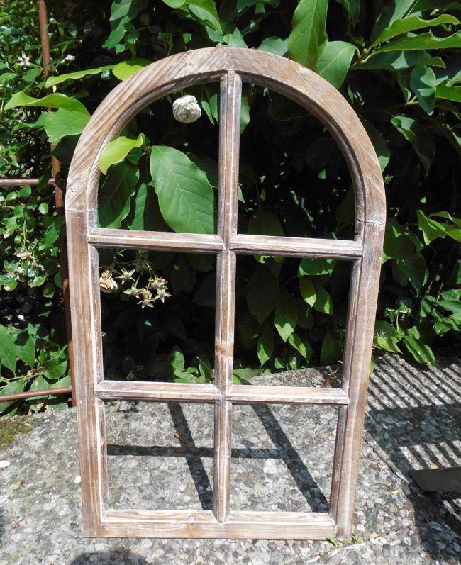 Fenster Sprossenfenster Bilderrahmen halbrund Wanddeko Holz braun 70cm