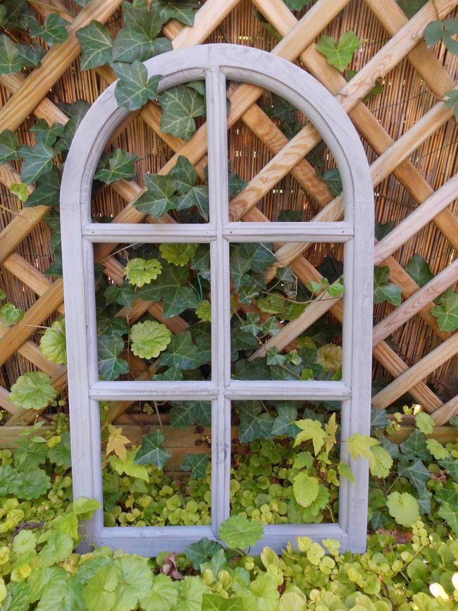Fenster Sprossenfenster Bilderrahmen halbrund Wanddeko Holz grau 70cm