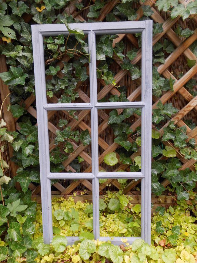 Fenster Sprossenfenster Bilderrahmen Wanddekoration Holz grau 85 x 43