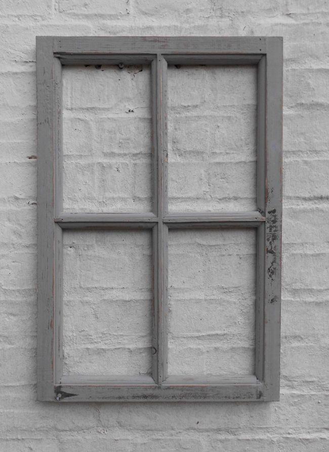 Fenster Sprossenfenster Bilderrahmen Wanddekoration Holz grau 60 x 40