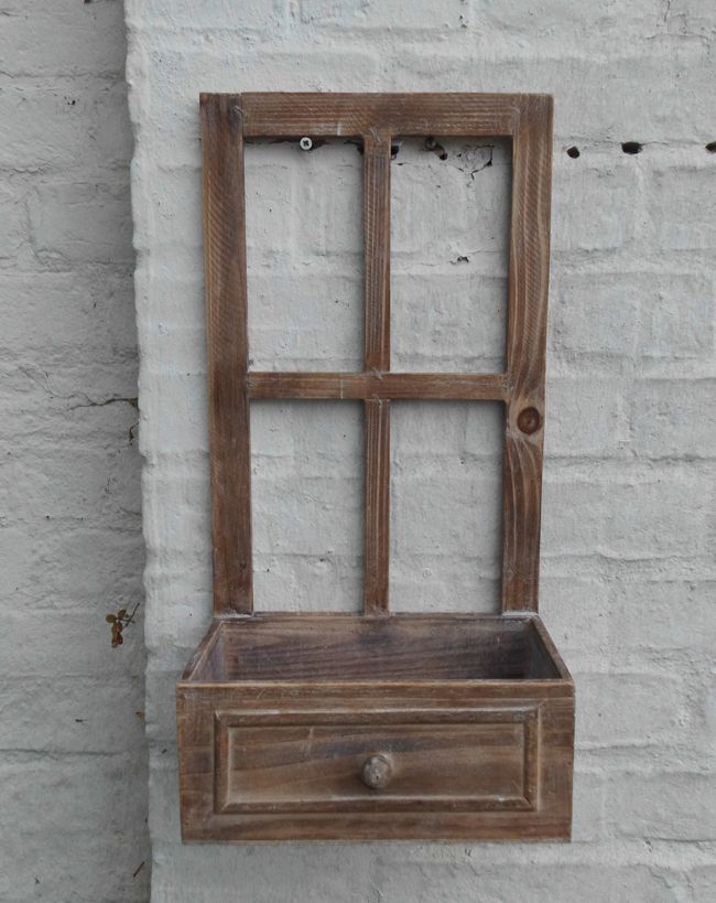 Fenster Sprossenfenster Dekofenster m. Ablage Pflanzkasten Holz braun