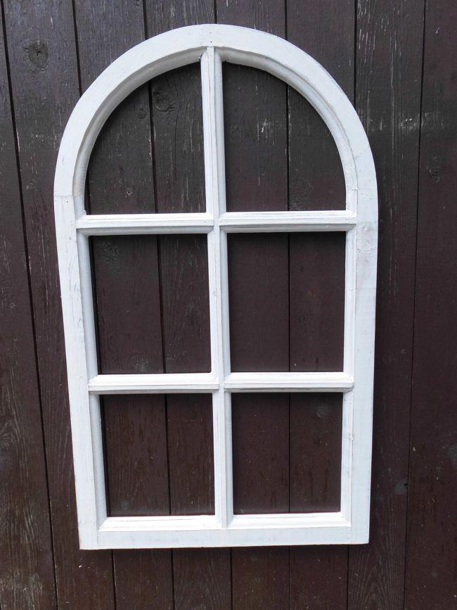 Fenster Sprossenfenster Bilderrahmen halbrund Wanddeko Holz weiss 70cm