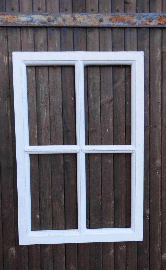 Fenster Sprossenfenster Bilderrahmen Wanddekoration Holz weiss 60 x 40