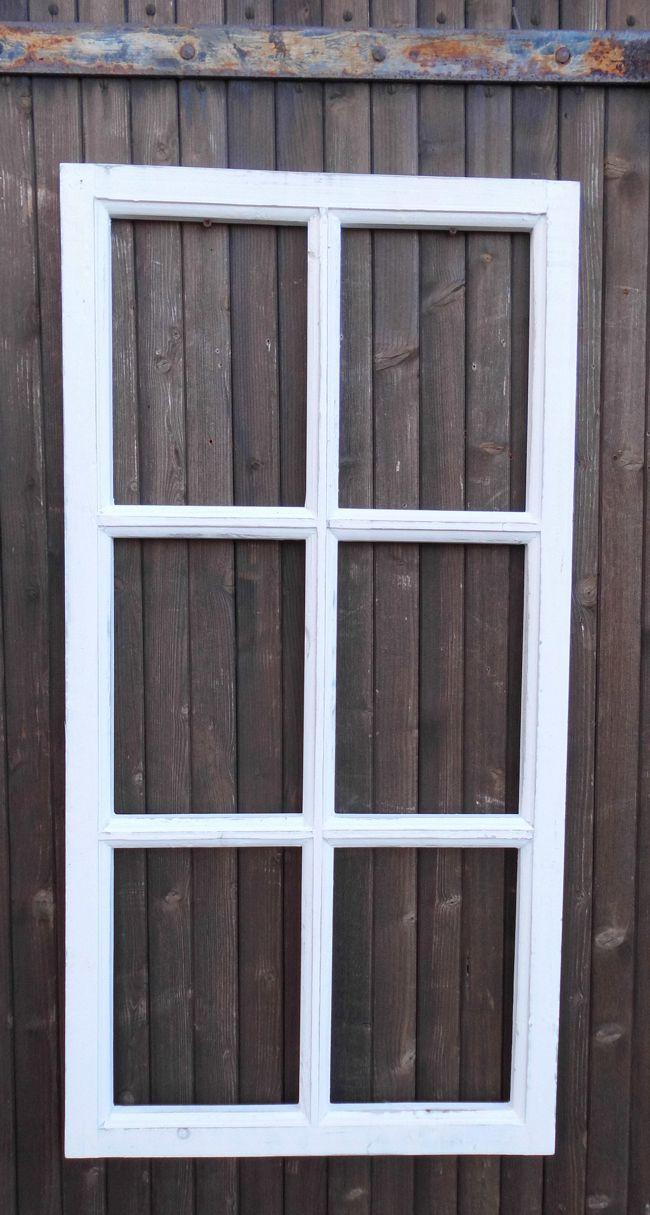 Fenster Sprossenfenster Bilderrahmen Wanddekoration Holz weiss 85 x 43