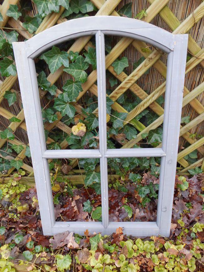 Stabiles Fenster Sprossenfenster Dekorahmen abgerundet Holz grau 77cm