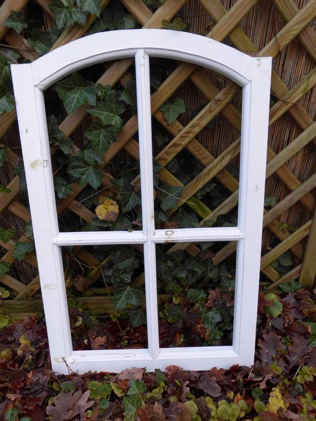 Stabiles Fenster Sprossenfenster Dekorahmen abgerundet Holz weiss 77cm