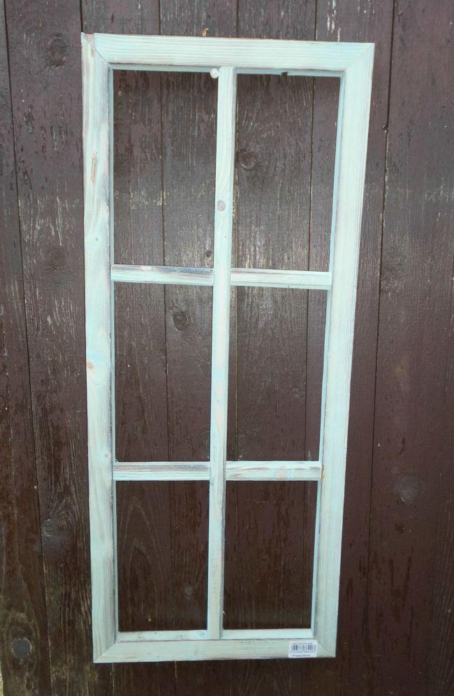 Fenster Sprossenfenster Bilderrahmen Dekorahmen Holz türkis 76 x 32 cm