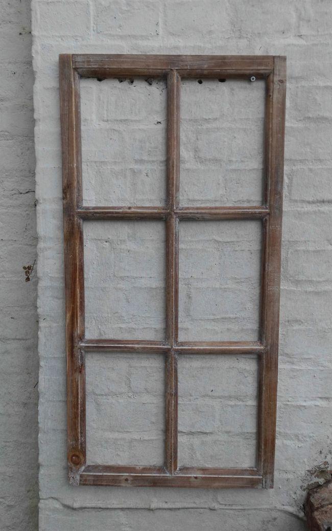 Fenster Sprossenfenster Bilderrahmen Wanddekoration Holz braun 85 x 43