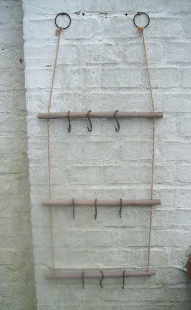 Leiterregal, Küchenregal Holz Utensilienhalter inkl 9 Haken Hängeregal