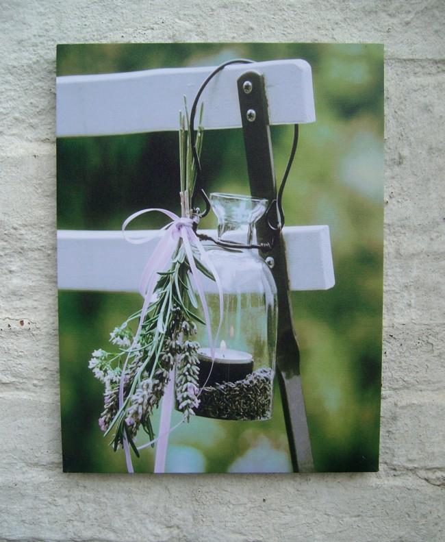 LED Bild, Flasche, Lavendel, Stimmungslicht, Leinwand a. Holzrahmen