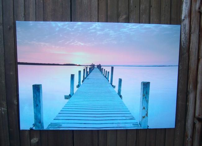 LED Bild Sonnenuntergang, Meer, Seebruecke, Strand, maritim Holzrahmen